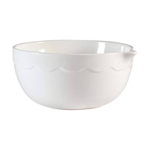 Ceramic Mixing Bowl with Spout by CIROA | 3 Quart Large Size White Porcelain