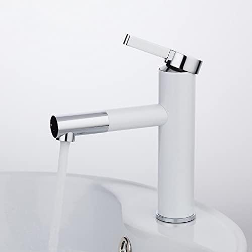 IOMLOP Grifo de la cocina Recién llegado, pintura en aerosol blanca, grifos de lavabo, grúa de baños con aireador 360 de rotación libre