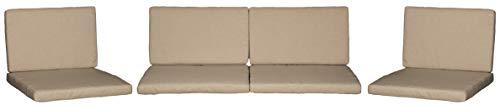 Monaco Lounge Sitzkissen für Rattan Gartengruppen in beige 8 Kissen 100% Polyester wasserabweisend mit Reissverschlüssen Bezug abnehmbar