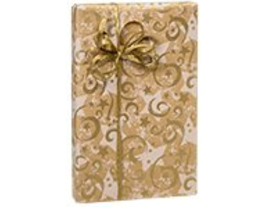 GOLD SWIRLING STARS Kraft Christmas Holiday Gift Wrap Paper - 16 Foot Roll