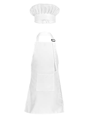 ACSUSS Kids Boys Girls Chef Apron and Hat Set Children Kitchen Cooking and Baking Costume Fancy Dress Up White 4-8