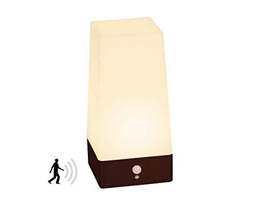 Signstek LED Bewegungsmelder Tischleuchte Nachtlicht LED-Tischlampe mit kabellosem PIR-Bewegungssensor (Quadratisch-Mell)