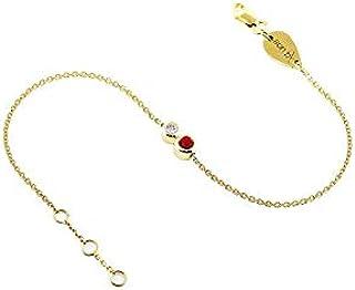 خلخال من الذهب 18 قيراط مزين بماستين، واحدة 0.10 قيراط ياقوت والاخرى 0.05 قيراط الماس
