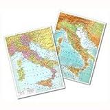 Cartina Italia fisica - politica 30x42 plastificata lucida per uso scolastico