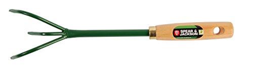 Spear & Jackson 50573 Griffe à Fleurs 3 Dents Manche Bois, Vert