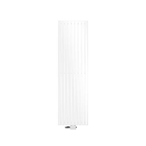 ECD Germany Stella Diseño Panel Radiador Conexión Central 480 x 1600 mm Blanco con Juego de Conexión Termostato Esquina Universal y Forma Recta Plana Monocapa Vertical Radiador Baño Calefacció