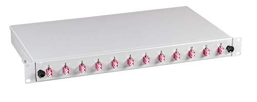 """Helos LWL 19"""" Breakoutbox mit 12x LC Duplex Kupplungen OM4, grau"""