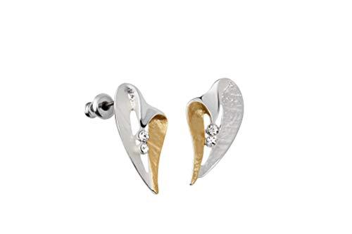 Perlkönig | Damen Frauen | Ohrringe Set | Ear Cuffs | Silber Gold Farben | Herz geschwungen| Glitzer Steine | Stecker | Nickelabgabefrei