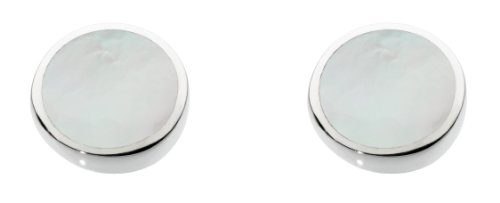 Dew Sterling Silver and Mother of Pearl Shell Round Stud Earrings