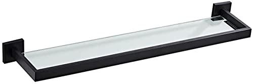 TUHFG Estantes de ducha Estante de vidrio de baño Espejo Estante frontal Estante de baño, 304 Estante de acero inoxidable colgante de pared para baño Cosméticos Rack de una sola capa negro