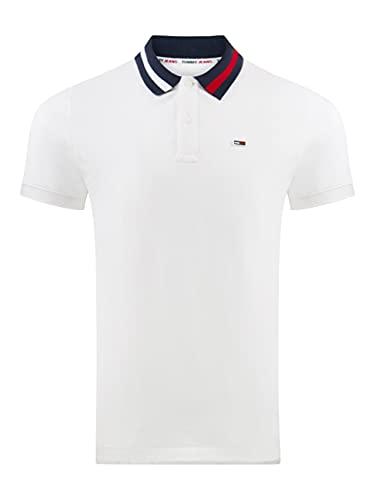Tommy Jeans TJM Flag Neck Polo Chemise, Blanc (White), X-Large Homme