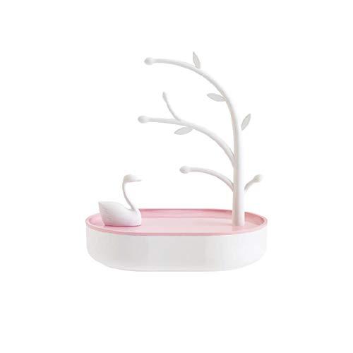 Honton Organizador de joyas para pendientes soporte de almacenamiento joyería lago cisne soporte exhibición joyas bandeja almacenamiento con 4 rejillas para mujer amigas 18,1*12,7*20,9 mm rosa
