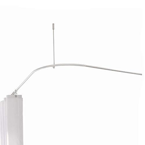PHOS Edelstahl Design, DSB300-1000-BundleP1, Duschstangen-Komplett-Set, L-Form 100x100 cm aus echtem Edelstahl, Duschvorhang weiß 200x220 cm (HxB), 16 Haken, Badezimmer-Set, Duschvorhangstange-Set