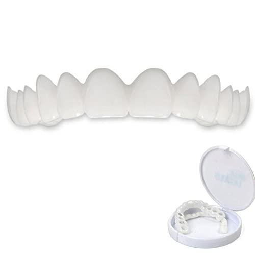 DJKFH 2 Pares de Dentaduras Cosméticas, Reutilizable Dentales Temporales Frenos Superior Y Inferior Sonrisa Instantánea Confort Ajuste Flex Dientes