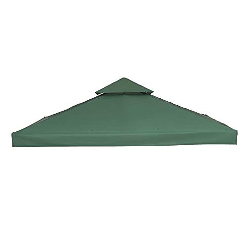 Outsunny Copertura per Gazebo da Giardino Tetto Sostitutivo Anti-UV Impermeabile in Poliestere 3x3m Verde Scuro