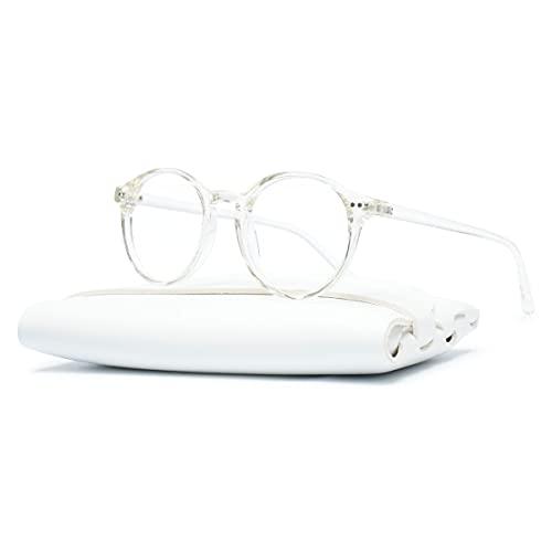 KOOSUFA Unisex Blaulichtfilter Brille Computerbrille Retro Rund Ultra Licht TR90 Brillengestelle Anti Blaulicht Brillen Ohne Sehstärke Herren Damen Gaming Brille Anti Müdigkeit mit Etui (Durchsichtig)