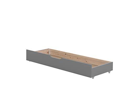 Vipack Cama infantil Jumper para extraerse de 160 – 200 cm, incluye cajón y colchón de 160 + 40 cm, pino macizo lacado en gris