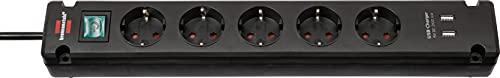 Brennenstuhl Bremounta Steckdosenleiste 5-fach mit USB-Ladefunktion (Mehrfachsteckdose mit 90 Grad Steckdosen, Steckerleiste mit Befestigungsmöglichkeit und 3m Kabel) schwarz