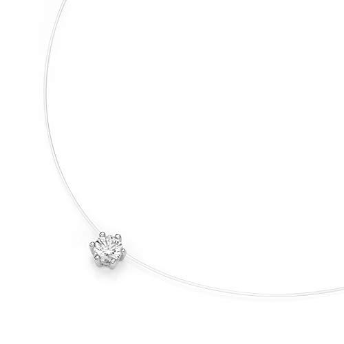 Smart Jewel Collier Schwebender Stein, Zirkonia, Silber 925 Silber, 45 Cm 925 Sterling Silber