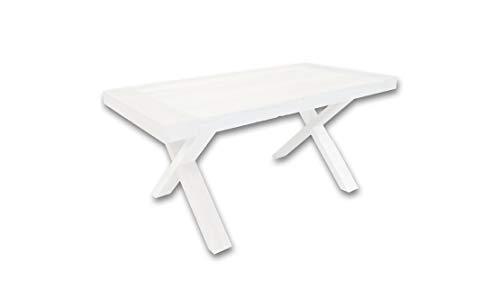 Am Group Home Tavolo allungabile cm 180 x 90 Robusto per Cucina, Sala da Pranzo, Salotto, Living con Gambe Incrociate Stabile di Alta qualità (Bianco Frassino)