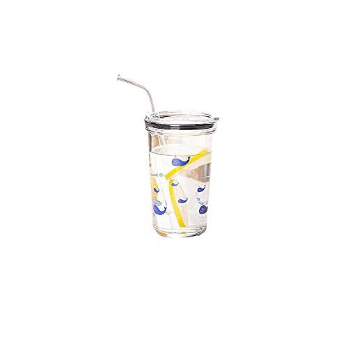 HEIYANQUANblb Botella De Agua, Botella de Vidrio de 500 ml, con Tapa y Paja, batido de Jugo de Agua de café, Taza para Beber para la Escuela de Oficina en casa, Tamaño: 15 * 8.5 cm (Color : C)