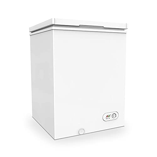 3.5 Cu Ft Compact Chest Freezer, with Removable Basket, Flip-up Lid, Adjustable thermostat, 7 Temperature Setting, for Apartment, Garage, Restaurant (White)