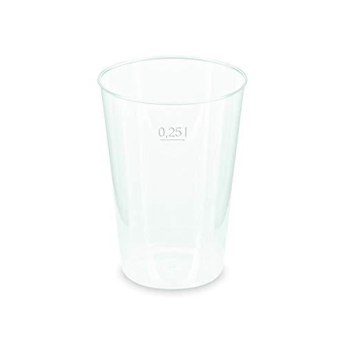 Vasos reutilizables para fiestas, irrompibles, transparentes, con marca de medición de 0,25...