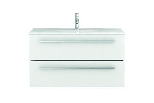 Waschtischunterschrank mit Waschbecken Libato 60 90 120 cm - weiß anthrazit Eiche grau Hochglanz - Badmöbel Badezimmermöbel Unterschrank hängend [Sieper Qualität aus Deutschland] (90, weiß)