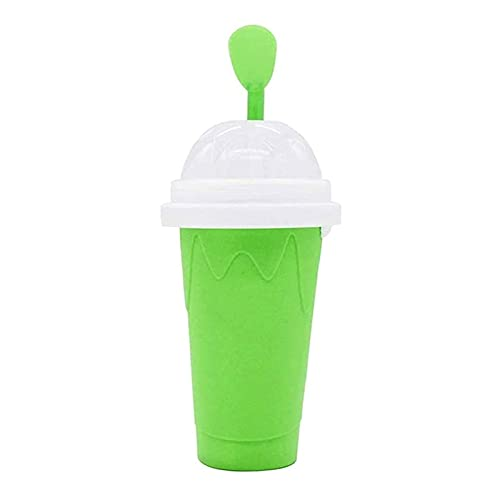 SKYWPOJU Magic Quick Frozen Smoothies Cup, Slushie Maker Cup, Cooling Cup Taza de Apretón de Doble Capa DIY Slushy Maker, Portátil para Niños Viajes Familiares (Color : Green)