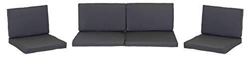 Monaco Lounge Sitzkissen für Rattan Gartengruppen in dunkelgrau 8 Kissen 100% Polyester wasserabweisend mit Reissverschlüssen Bezug abnehmbar