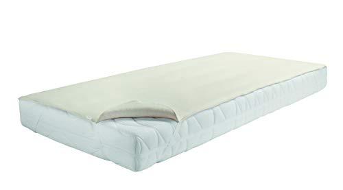 Matratzenschutz aus Molton 100% Baumwolle, Matratzenauflage mit 4 Eckgummis oder Matratzenschutz m. Rundumgummi - verschiedene Größen, weiß o. rohweiß CA70/CA71 (100x200cm/Eckgummi)