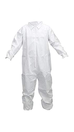 Oleumfield 55g/M2 Disposable Coverall Suit 25 Pack, White Microporous Protective Full Body Cover with Elastic Cuffs and Ankles for DIY, Industrial or Scientific Use (Extra Large)