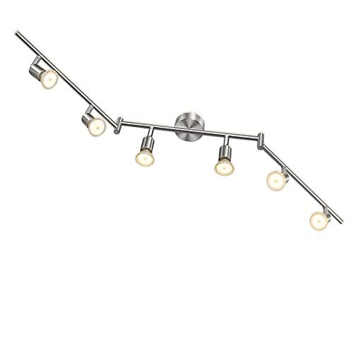 Wowatt Lámpara de techo LED Plafón con Focos Giratorios Lámpara de salón 6x Spot Bombillas GU10 Bajo consumo 5W 230V 2800K Blanco cálido 420lm 82Ra IP20 Níquel Mate