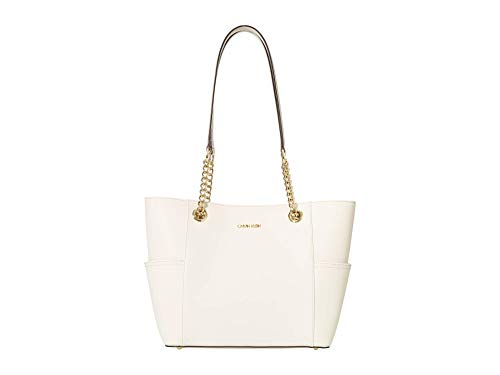 Calvin Klein Key Item Saffiano Leather Tote White One Size