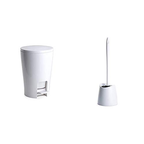 TATAY 4434901   Diábolo Cubo de baño con apertura a pedal, 5 litros de capacidad, PP, Blanco, 19.00x21.00x28.20 cm + 4431401   Standard Escobilla De Baño Wc, PP, Blanco, 12.00X12.00X38.00 Cm