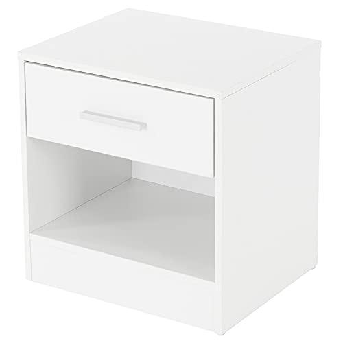 ML-Design Nachttisch mit einer Schublade und offenem Fach, Weiß, aus Holz, 36,5x38,5x30cm, Alu Griff, Nachtschrank Nachtkommode Kommode Nachtkonsole Beistelltisch, passend zu jedem Bett & Schlafzimmer