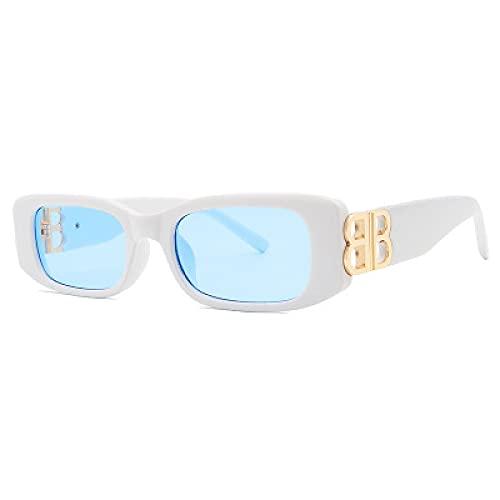 Secuos Marca De Gafas De Sol para Mujer BB Classic Fashion para Hombre Gafas De Sol Uv400 Viajes Deportes Cuadrado Retro Rectángulo Gafas De Sol Blanco Azul