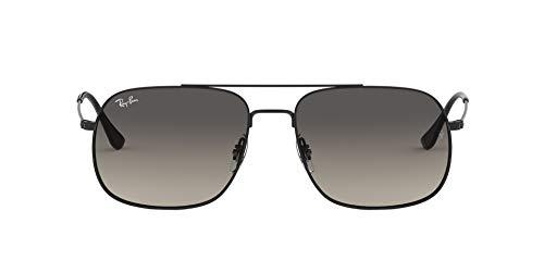 Ray-Ban RB3595 Andrea Square Sunglasses, Rubber Black/Grey Gradient Dark Grey, 56 mm