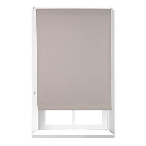 Relaxdays Estor Opaco Térmico sin Taladrar, Poliéster-Aluminio-Plástico, 160x76 cm, Marrón