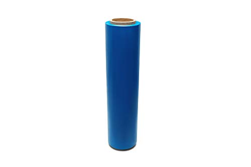 Blue Color Hand Bundling Stretch Wrap Plastic Film 18 Inch x 80 Gauge x 1500 Feet 1 Roll