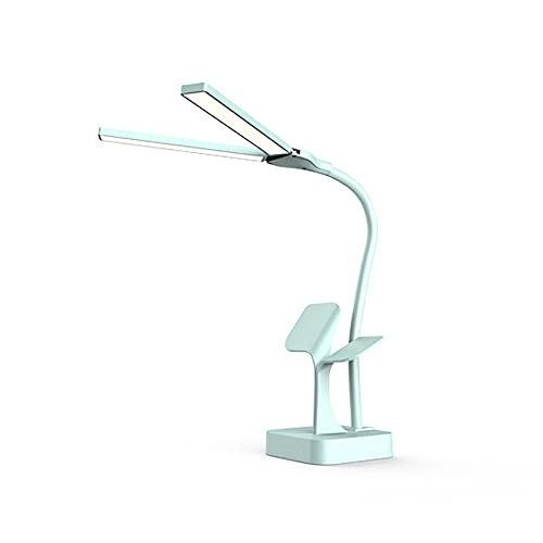 Lámpara de escritorio con doble LED, 60 perlas de lámpara LED, lámpara sin sombra, protección de los ojos, brillo ajustable, color azul
