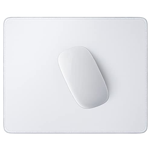 Hsurbtra Mouse Pad, Premium-Textured Square Mousepad 10.2 x 8.3 Inch, Stitched Edge Anti-Slip Waterproof Rubber Mouse Mat, Pretty Cute Mouse Pad for Office Gaming Laptop Women Kids Ivory White