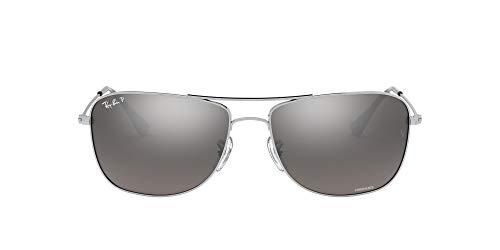 Ray-Ban Rb3543 Chromance Aviator Sunglasses, Shiny Silver/Polarized Silver Mirror, 59 mm