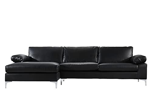 BHDesign Amanda - Sofá de esquina moderno de 5 plazas, piel sintética, color negro