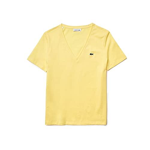 Lacoste T-shirt TF8392 - Col en V - Pour femme - Coupe normale, Jaune (107), 46