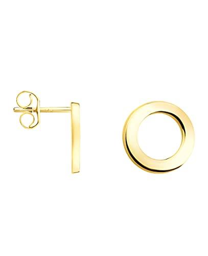 DIAMALA Pendientes para mujer de oro 375 (9 quilates), oro amarillo con diseño de círculo DI20001