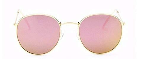 KIRALOVE Occhiali da sole rotondi - donna - uomo - specchio - retro - montatura metallo - colore oro - lente rosa - uv 400 polarizzati - primavera - autunno - inverno - estate