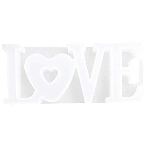 Molde de Resina Epoxi de Letras | Moldes de silicona de resina 3D | Artesanía de decoración de adornos DIY | Molde de silicona de amor | Decoración del hogar de mesa | Crear ambiente romántico (B)