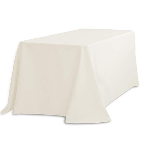 LinenTablecloth LTC-90132-010105 90 X 132 In. Rectangular Polyester Tablecloth Ivory 90 X 132 In. Rectangular Polyester Tablecloth Ivory