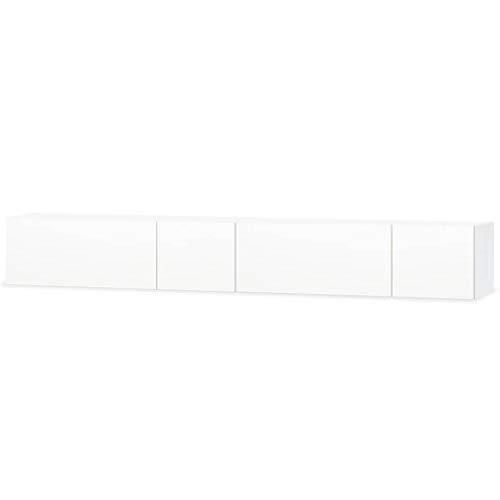 vidaXL Mueble TV Aglomerado 2 Pzas Blanco Brillo Soporte Mesa Mesilla Auxiliar